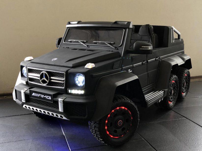 Mercedes G63 AMG 6x6 duozit kinder speelgoed 12V 2.4G RC Matzwart