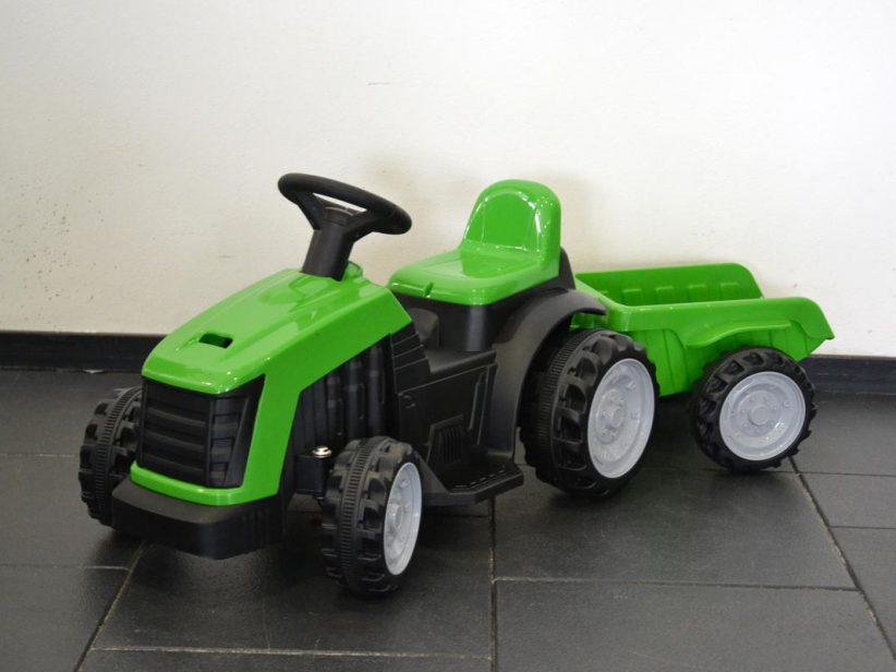Tractor elektrisch speelgoed met aanhanger 6 Volt Groen