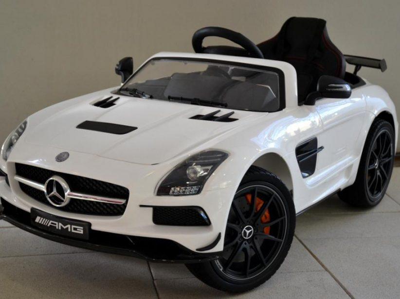 Mercedes SLS AMG kinderspeelgoed auto 12V 2.4G RC en TV scherm Wit