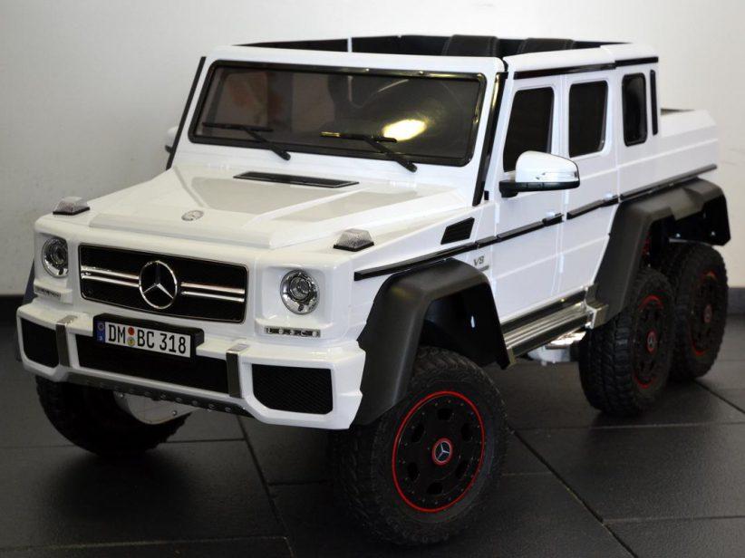 Mercedes-Benz G63 AMG 6x6 kinderauto 12V 2.4G RC en TV scherm Wit