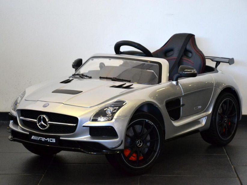 Mercedes SLS AMG 12V kinderauto 2.4G RC en TV scherm Grijs