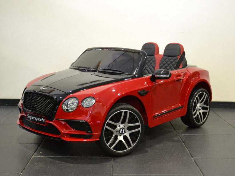 Bentley Continental GT kinderauto 12V 2.4G RC  Rood/zwart 2 persoons