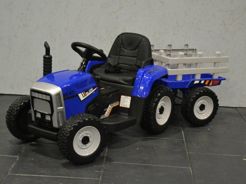 Tractor met aanhanger Kinderspeelgoed 12V 2.4G RC Blauw