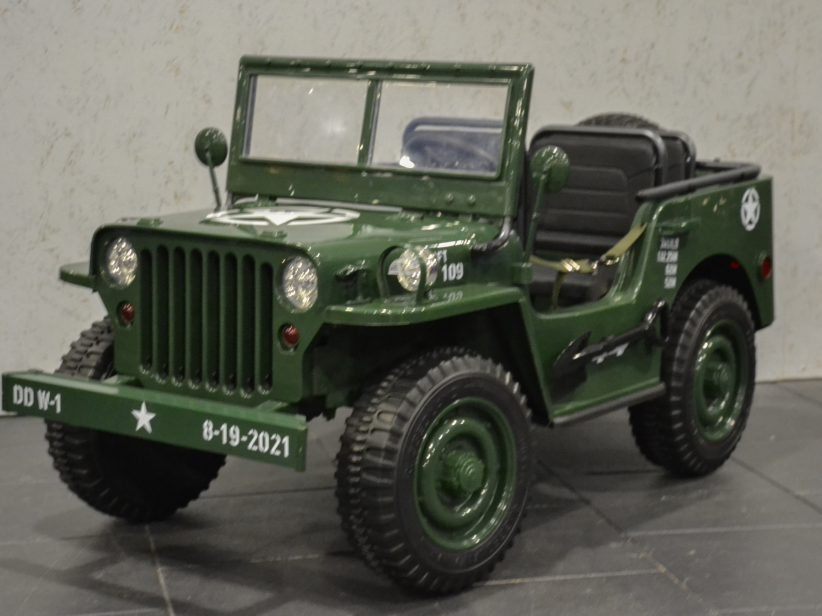 Willy's elektrische kinderjeep 12V 4WD 2.4G RC Groen 3 persoons