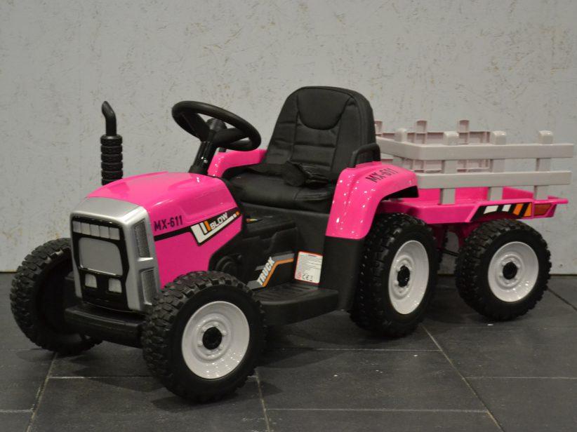 Tractor met aanhanger Kinderspeelgoed 12V 2.4G RC Roze
