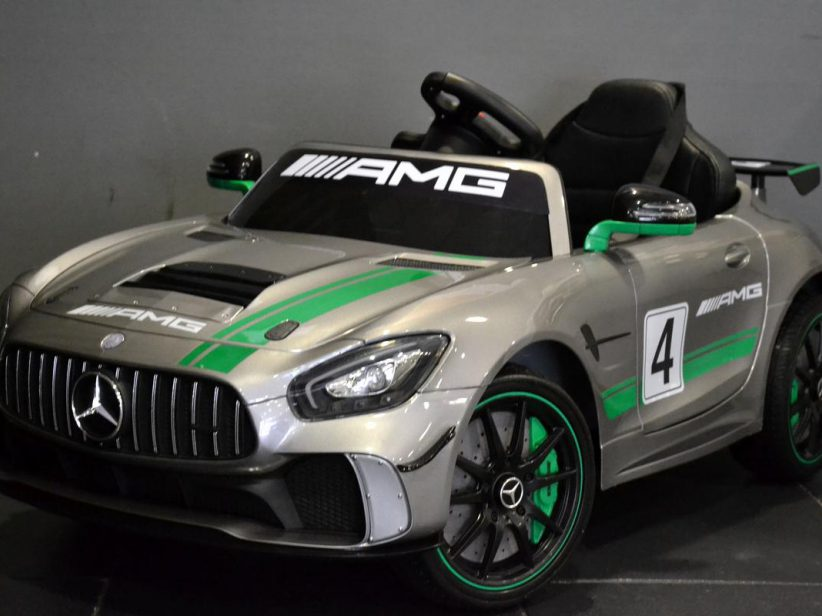 Mercedes AMG GT GT4 kinderauto elektrisch 12V 2.4G RC en TV scherm Grijs