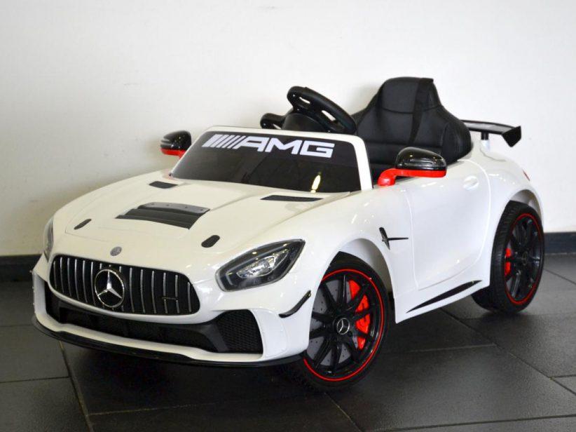 Mercedes AMG GT GT4 kinderauto elektrisch 12V 2.4G RC en TV scherm Wit