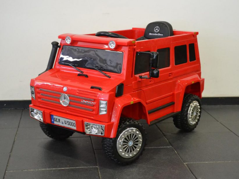 Mercedes Unimog elektrische kinderjeep 2.4G RC 12 Volt Rood