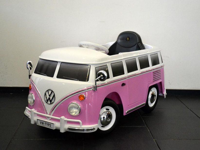 Volkswagen Transporter T1 elektrische kinderspeelgoed auto 12V 2.4G RC Roze