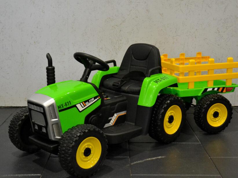 Tractor met aanhanger Kinderspeelgoed 12V 2.4G RC Groen